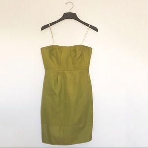 JCrew Strapless Green Dress Size 6